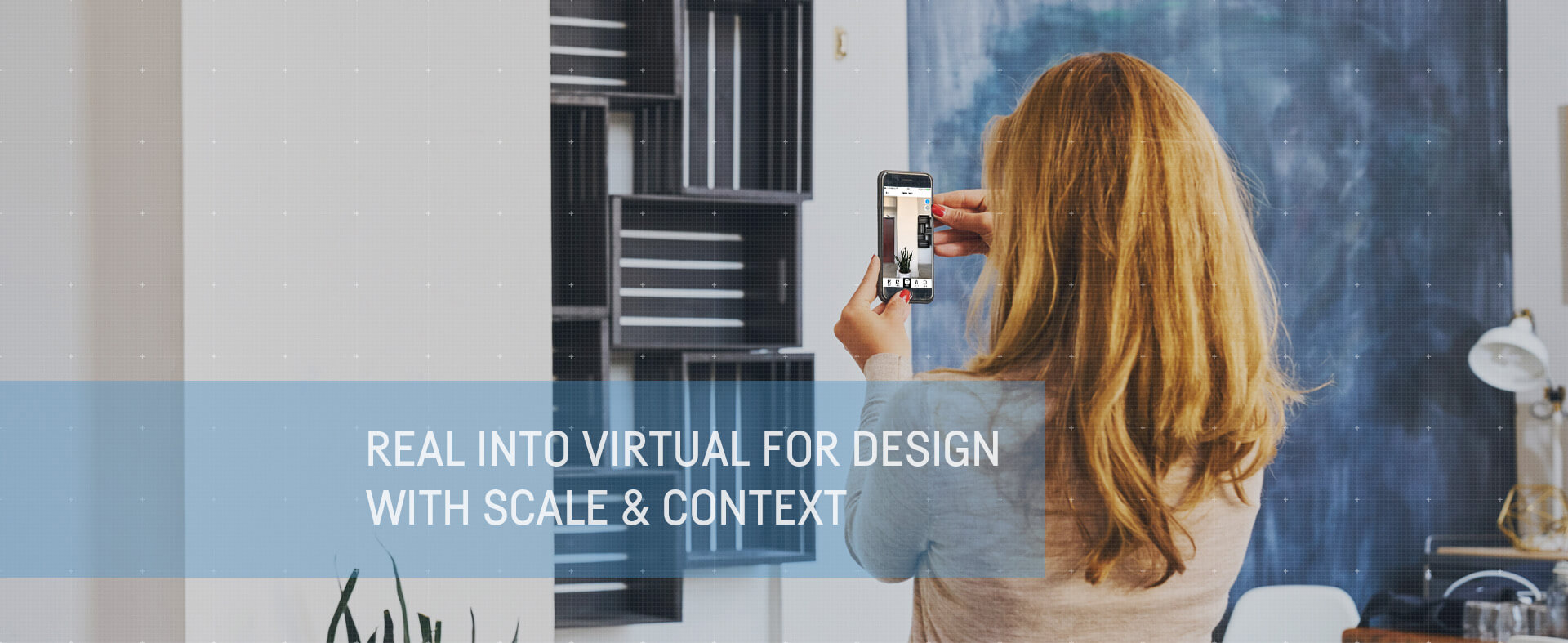 Woman virtually planning room design with Cubit